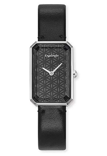 Engelsrufer Armbanduhr Lebensblume Silber Lederband schwarz
