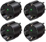 Brennenstuhl Reisestecker/adapter (4 Stück, Schutzkontakt für USA, Mexiko, Kanada, Dominikanische Republik usw.) schwarz, 1508550