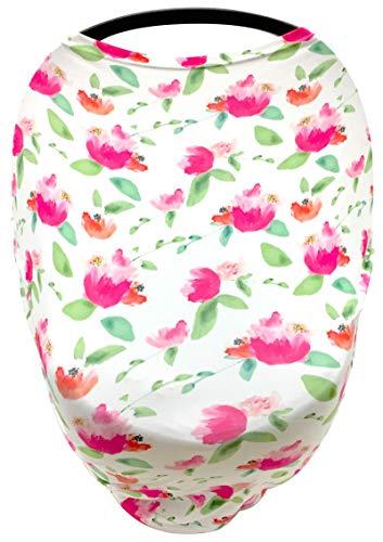 Luvit - Toldo para asiento de coche de bebé 5 en 1, cubierta para carrito de compras, cubierta para silla alta y cubierta de lactancia, ajuste universal todo en uno, diseño floral rosa