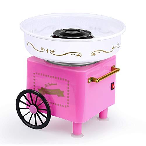 Mini Cotton Candy Machine, Hard Sugar Floss Maker Kit with Pink Vintage Design