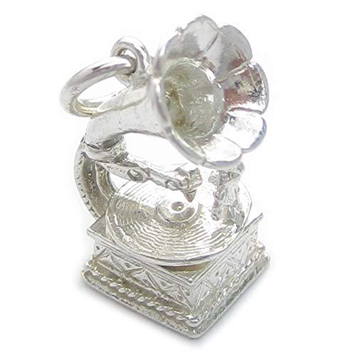 Grammofono con mobili Record in argento Sterling ciondolo .925x 1Ciondoli Musica ec46