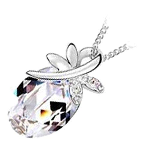 GWG Jewellery Collares Mujer Regalo Collar con Colgante, Chapado en Plata de Ley Cristal Ovalado Diamante Claro con Libélula Sentada por Encima para Mujeres