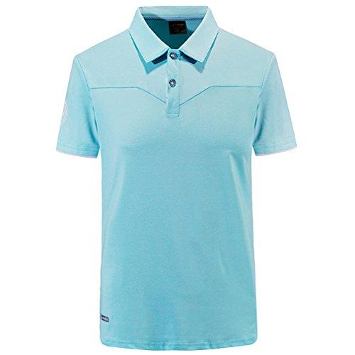 emansmoer Hommes Col Rabattu Manches Courtes Golf Polo T-Shirt Séchage Rapide Respirant Outdoor Sports T-Shirt Fitness Running Casual Élégant Tops (XXXX-Large, Bleu Clair)