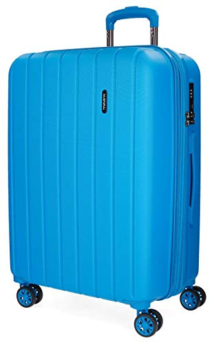Movom Wood Maleta mediana Azul 44,5x65x27,5 cms Rígida ABS Cierre TSA 68L 3,8Kgs 4 Ruedas Dobles Extensible