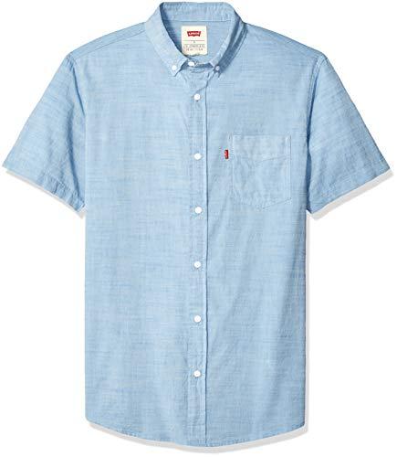 Levi's Men's Short Sleeve, Classic FIT, Woven Shirt, Parisian Blue/Brato Solid, Medium