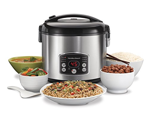 Hamilton Beach 37541 Digital Simplicity 4-20 Cup Rice Cooker and Food Steamer, Silver