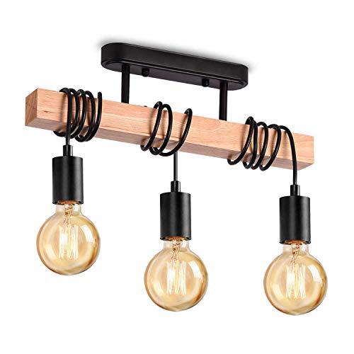 Lightess Lámpara de Techo Colgante Vintage Iluminación de Suspensión Madera Luz de Metal Casquillo E27 40W para Dormitorio, Sala de estar, Negro