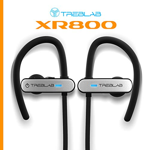 TREBLAB XR800 Bluetooth Headphones, Best Wireless Earbuds For Sports, Running Or Gym Workouts. 2018 Best Model. IPX7 Waterproof, Sweatproof, Secure-Fit. Noise-Cancelling Earphones w/ Mic (White) 3