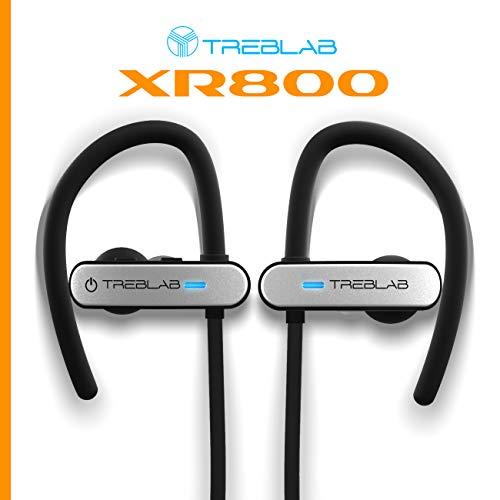 TREBLAB XR800 Bluetooth Headphones, Best Wireless Earbuds For Sports, Running Or Gym Workouts. 2018 Best Model. IPX7 Waterproof, Sweatproof, Secure-Fit. Noise-Cancelling Earphones w/ Mic (White) 3
