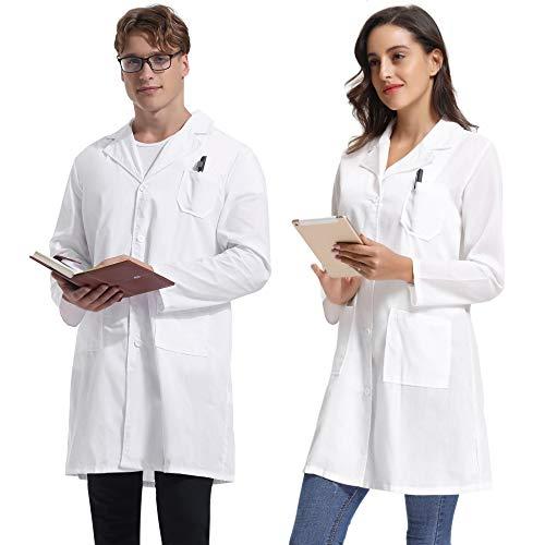 Abollria witte kittel dames katoen arts kostuum met contrasterende naden lange mouwen medische mantel apotheek kostuum carnaval werkkleding