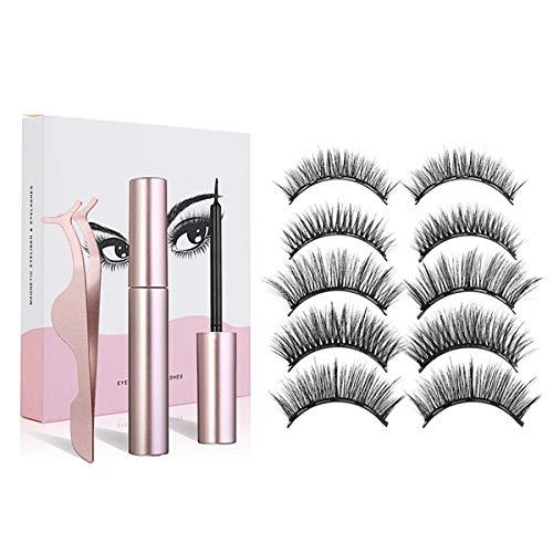 Charminer Faux Cils Magnétique Eyeliner Kit, 5 paires de cils naturels réutilisables et eye-liner imperméable avec clip, les performances imperméables réutilisables vous rendent plus attrayant
