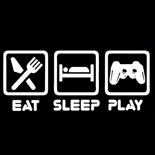 MCTYLI 14,1 cm * 5,8 cm grappig spel Eat Sleep Play vinyl zwart/zilver autosticker