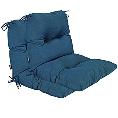BOSSIMA Outdoor Indoor High Back Chair Tufted Cushions Comfort Replacement Patio Seating Cushions Set of 2 Teal Blue