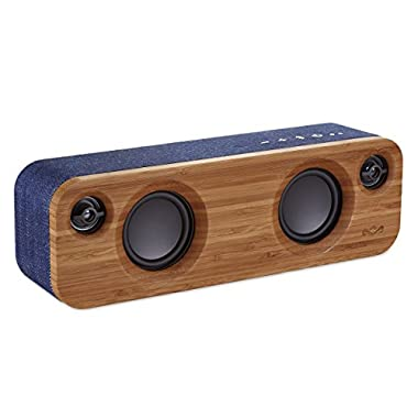 "House of Marley, Get Together Mini Bluetooth Portable Audio System - 2 x 2.5"" Woofer & 2 x .75  Tweeters, Pair 2 Units for Stereo Sound, Integrated Mic, 45ft Wireless Range, EM-JA013-DN Denim"