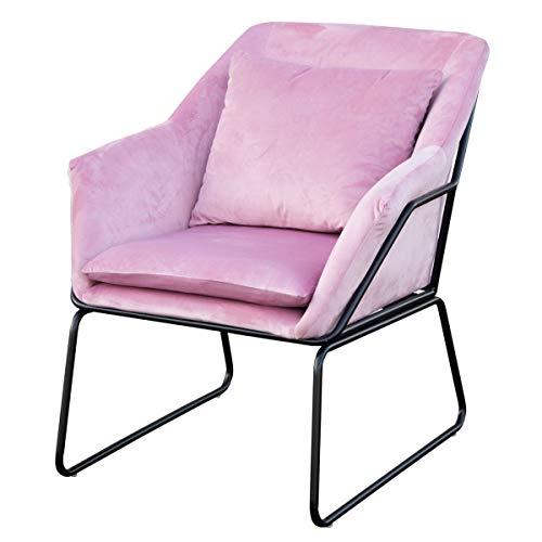 SVITA Josie Sessel gepolstert Beistellsessel Lounge Couch Einzelsofa Relaxsessel Seat Fernsehsessel Stoff inkl. Kissen Stuhl Samt (Rosa, Samt)