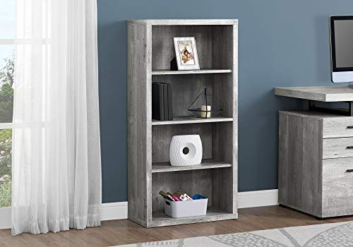 """Monarch Specialties Bookcase - Sturdy Etagere with 3 Adjustable Book Shelves - 48""""H (Grey)"""