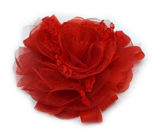 Brosche Blume rot Stoff aus Organza, Tüll und Spitze