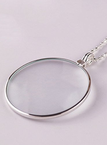 NIEGIENNA-Assorted Colors 5X Magnifier Necklace Magnifying Glass Pendant Optical Lens with Chain Jewelry Loupe for The Seniors Elders Aged Reading Increase Vision(Color: Silver)