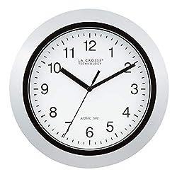 La Crosse Technology Atomic Analog Wall Clock, 10, Silver