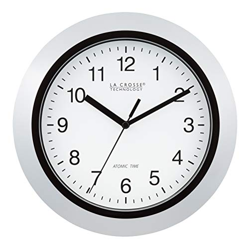 "La Crosse Technology Atomic Analog Wall Clock, 10"", Silver"
