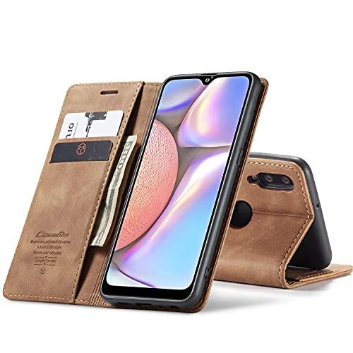 Chocoyi Compatible Funda Samsung Galaxy A10 Flip Leather Edition,magnético, función de Soporte y Ranuras para Tarjetas-Marron Oscuro