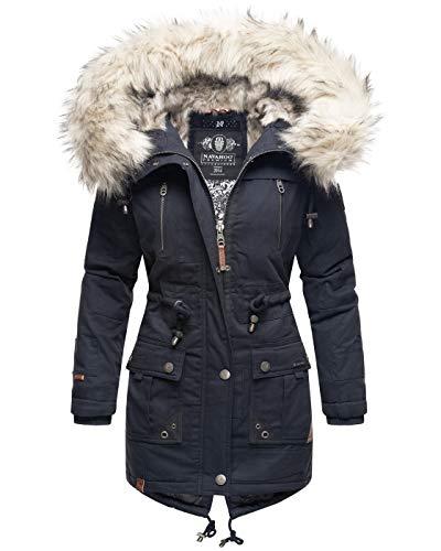 Navahoo Premium Damen Winter Jacke Parka Mantel Winterjacke warm Kunstfell B805 [B805-Honigf-Navy-Gr.XS]