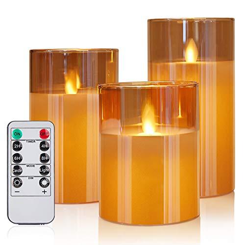Gr4tec 3 x Velas LED Efecto llama, Velas LED con Mando, Regulable, Real Cera, Velas LED con Temporizador, 10CM,12.5CM,15CM, Velas con 3 x AAA Pilas Para Dormitorio, Cumpleaños, Vacaciones