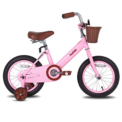 JOYSTAR 12 Inch Kids Bike for 2 3 4 Years Old Girls, Vintage Kids Bicycle with Front Basket & Training Wheels for 2-4 Years Child, Pink