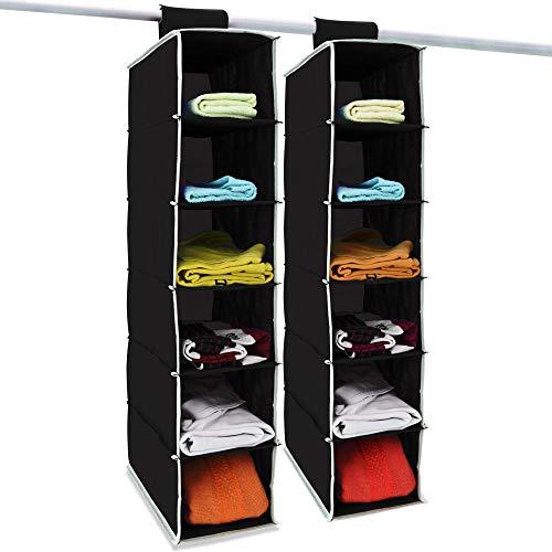 Deuba 2X Hängeaufbewahrung Kleiderschrank Hängeregal 6 Fächer I 80x15x30cm I Faltbar Schwarz Weiß Utensilo Organizer Schrank