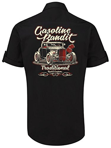 GASOLINE BANDIT Rockabilly Worker-Hemd Kurzarm, original Design: Hot Rod Traditional Größe XXL