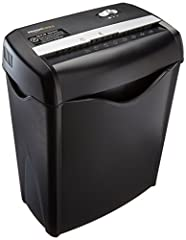 Cross-cut paper shredder with 6-sheet capacity; destroys credit cards (one at a time) Shreded paper measures 7/32 by 1-27/32 inches 2 minute continuous run time with 30 minute cool down time; Auto start and manual reverse to clear paper jams 8.7-inch...