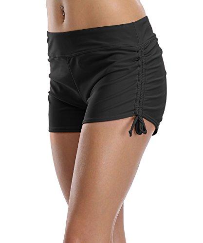 CharmLeaks Damen Bikinihose High Waist Tankinihose Hohe Taille Badehose Basic (48-50 / UK 18, Schwarz)