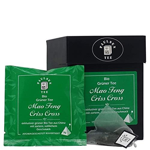 Paulsen Tee Pyramidenbeutel Mao Feng Criss Cross Grüner Tee 15 x 3g - Bio, rückstandskontrolliert & zertifiziert
