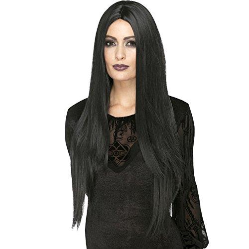 Smiffys Deluxe heksen pruik, extra lang, één maat, zwart, 45048