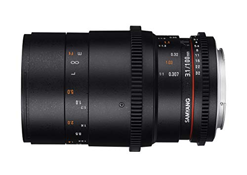 Samyang 100/3,1 Objektiv Makro Video DSLR Sony E manueller Fokus Videoobjektiv 0,8 Zahnkranz Gear, Makroobjektiv schwarz