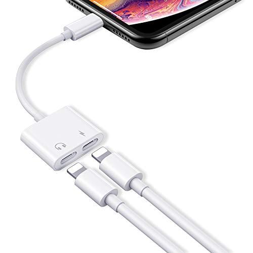 Adattatore per iPhone 11 Cuffie Compatibile per 11 Pro Max/XS Max/XS/X/8/8Plus/7/7Plus,2 in 1 Doppio Adapter Splitter Jack per la Cuffia Audio Cavo e Call Supporta tutti i sistemi ios - bianca