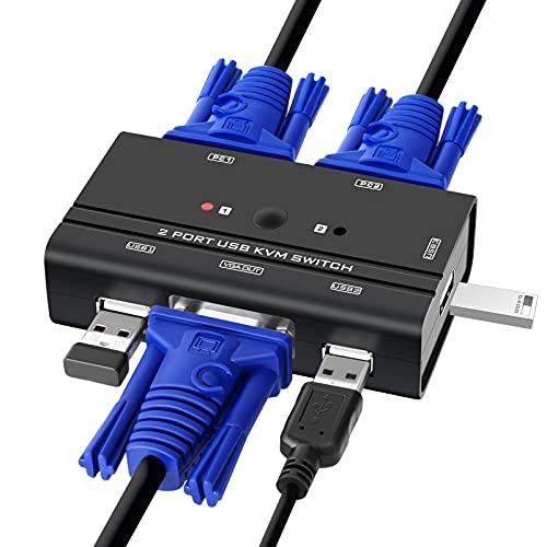 TCNEWCL Switch KVM avec 2 KVM Câbles,USB et VGA Commutateur pour 2PC partageant 1 Moniteur vidéo et 3 USB Clavier Souris Hub