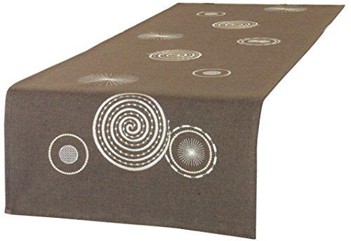 Laura S Kissenbezüge,Mitteldecke,braune Tischläufer in Leinenoptik, kräftiges Material, gesticktes Motiv, in verschiedenen Größen erhältlich.Ausgewählte Größe jetzt: (ca. 40 cm x 90 cm)