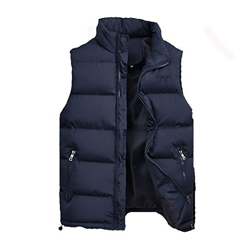 Mens Light-Weight Packable Puffer Down Vests Water-Resistant Cotton Outdoor Sports Thick Warm Sleeveless Jacket