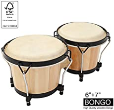 """MUSICUBE Bongo Drum Set, 2 Sets 6"""" and 7"""" Percussion Instrument, FSC Wood and Metal Drum for Kids Adults Beginners Professionals with Tuning Wrench"""