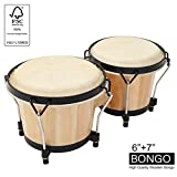 "MUSICUBE Bongo Drum Set, 2 Sets 6"" and 7"" Percussion Instrument, FSC Wood..."