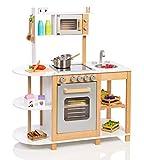 Unbekannt Kinderküche aus Holz (Weiß-Silber) Spielküche für Kinder