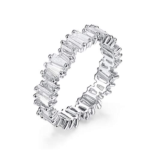 YOGEME Fashion AAA cubic zirconia Baguette thin band ring R0377 (White, 7)