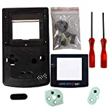 eJiasu Full Replace Parts Housing Shell Pack Replacement for GBC Gameboy Color Shell(Transparent Black Case with Lens and Screwdriver)