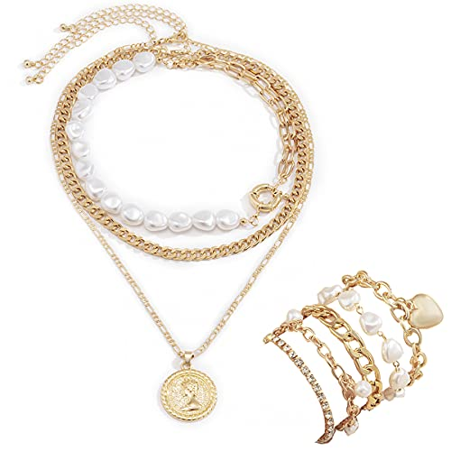 Charm Layered Necklaces Bracelets Set for Women, Gold Plated Paperclip Chain Necklace Coin Choker Pearl Link Chain Cute Handmade Layering Pendant Jewelry Gifts