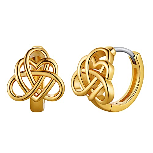 Celtic Knot Earrings with Silver Post 18K Gold Plated Irish Jewelry Huggie Hoop Earrings for Women Teen Girls