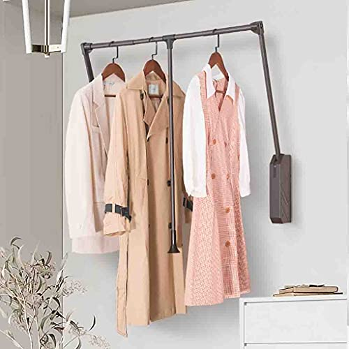 Klädställ Garderob lyftklädstång för vägg, dra ner garderobstången, justerbar bredd Garderobs Klädhängare Soft Retur (Size : (900-1220mm)×840mm)