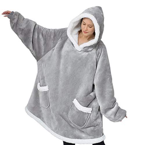Bedsure Wearable Blanket, Sherpa Blanket Hoodie, Standard Blanket Sweatshirt with Deep Pockets and Sleeves for Adults Kids Teen, Grey