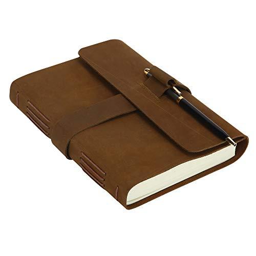Cuaderno de Viaje de Cuero, Hecho a Mano, Cuaderno de Bocetos, sin Forrar, Papel en Blanco, Cuaderno de Escritura, Bloc de Notas Vintage - Marron - 19 x 14 cm