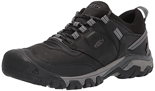 KEEN Men's Ridge Flex Low Height Waterproof Hiking Shoe, Black/Magnet, 14
